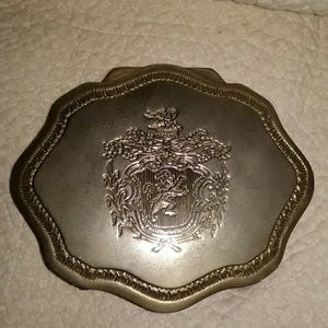 Antique silver plate jewelry trinket box 4in wide!